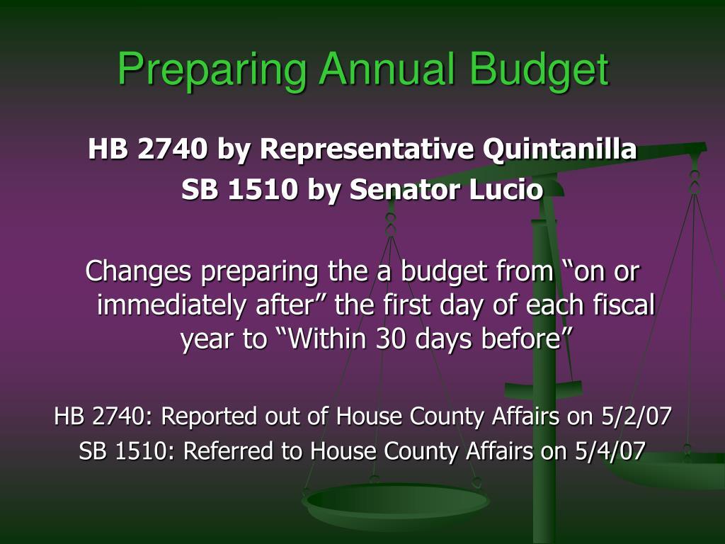 Preparing Annual Budget