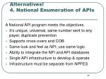 alternatives 4 national enumeration of apis
