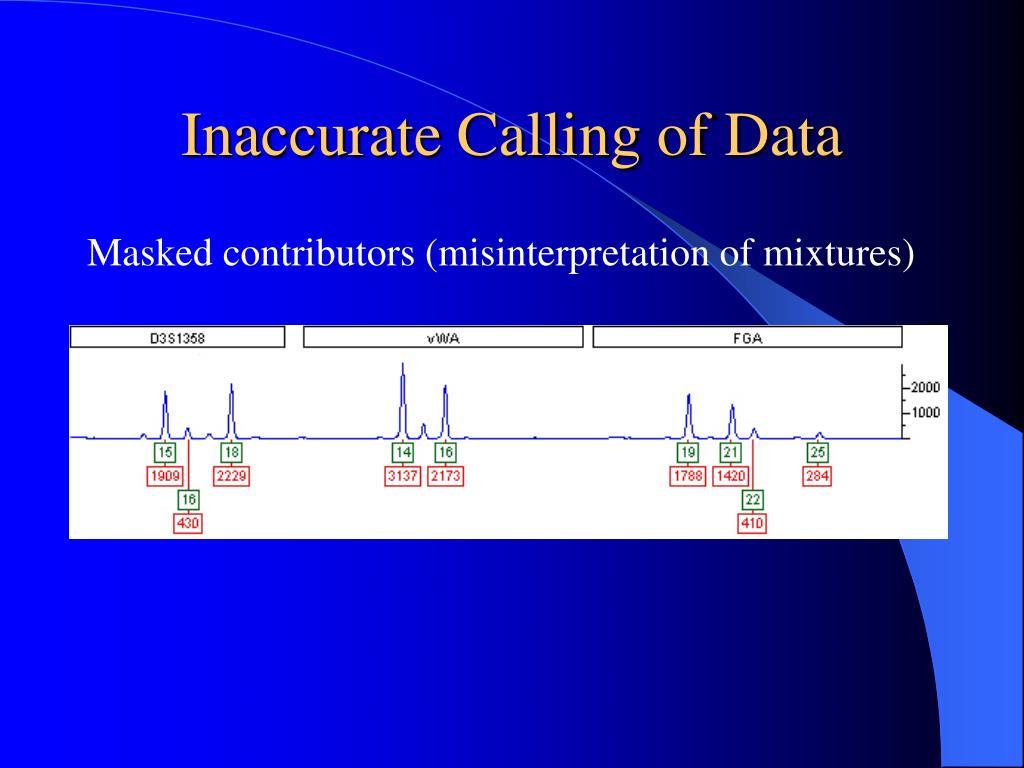 Inaccurate Calling of Data
