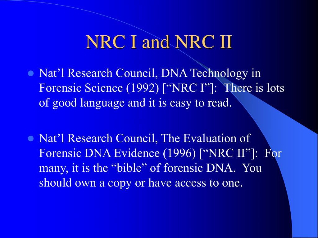 NRC I and NRC II