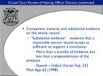 circuit court review of hearing officer decision continued28