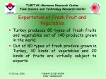 exportation of fresh fruit and vegetables