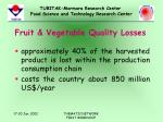 fruit vegetable quality losses