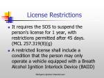 license restrictions