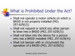 what is prohibited under the act