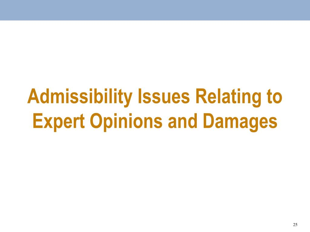 Admissibility Issues Relating to Expert Opinions and Damages