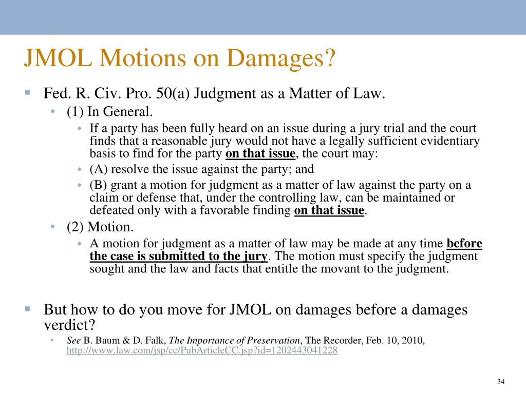 JMOL Motions on Damages?