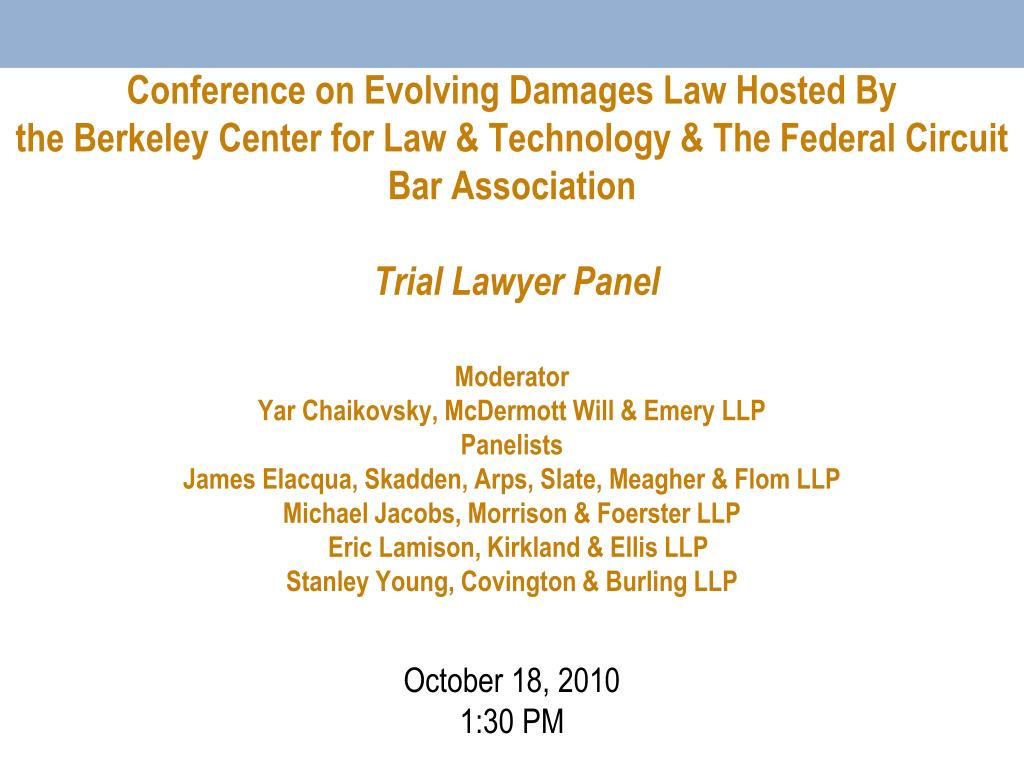 Conference on Evolving Damages Law Hosted By