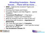 attracting investors some issues there will be more
