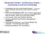 syndication nodes and business angels connecting in and from cambridge