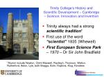 trinity college s history and scientific development cambridge science innovation and invention