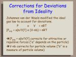 corrections for deviations from ideality
