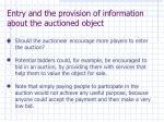 entry and the provision of information about the auctioned object