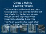 create a holistic sourcing process