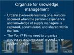 organize for knowledge management