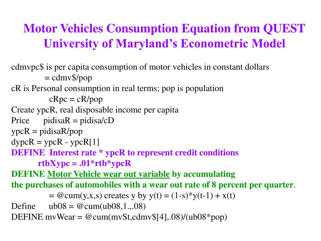Motor Vehicles Consumption Equation from QUEST