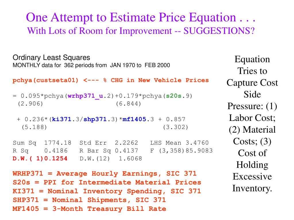 One Attempt to Estimate Price Equation . . .