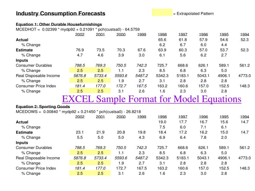 EXCEL Sample Format for Model Equations