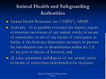 animal health and safeguarding authorities