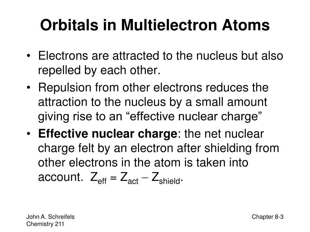 Orbitals in Multielectron Atoms