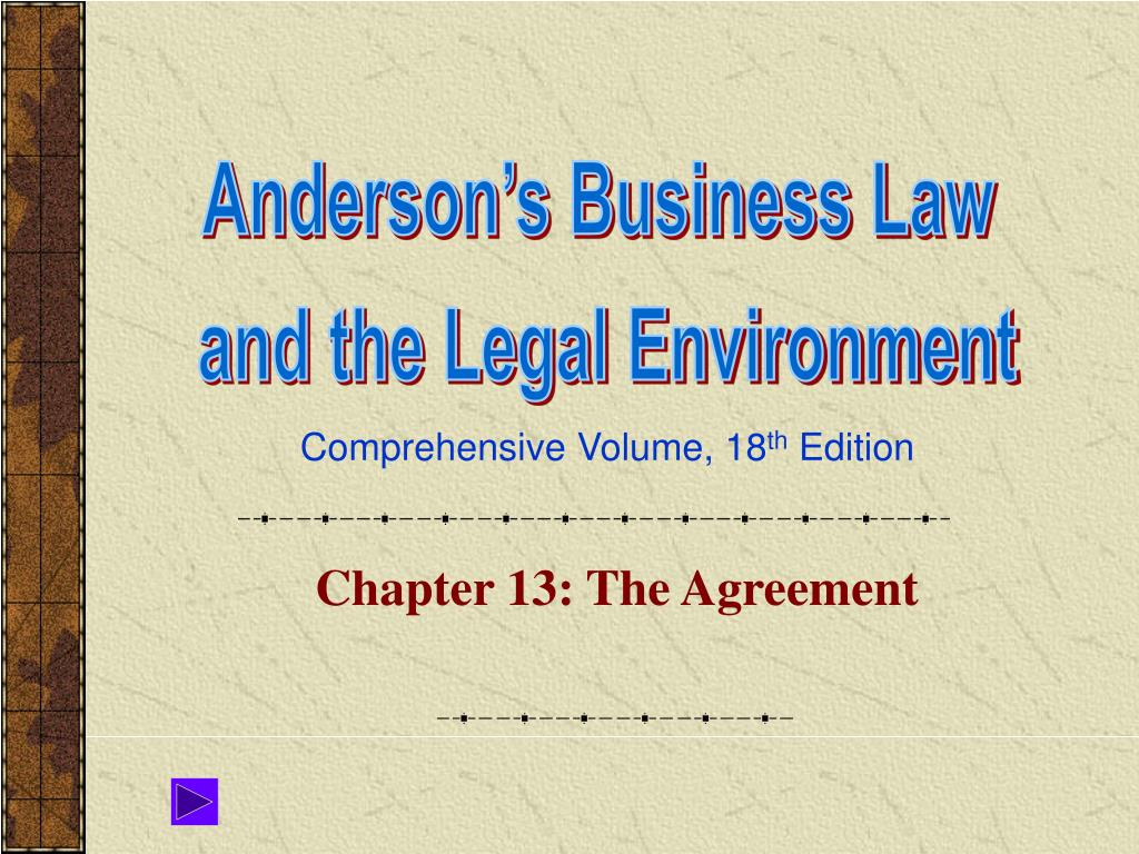 Chapter 13: The Agreement