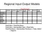 regional input output models