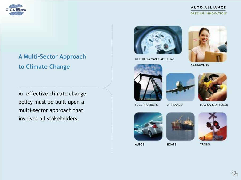 An effective climate change policy must be built upon a multi-sector approach that involves all stakeholders.