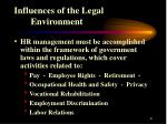influences of the legal environment