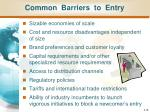 common barriers to entry