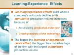 learning experience effects