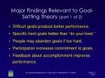 major findings relevant to goal setting theory part 1 of 2