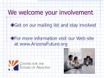 we welcome your involvement