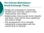 the intimate marketplace social exchange theory