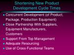 shortening new product development cycle times