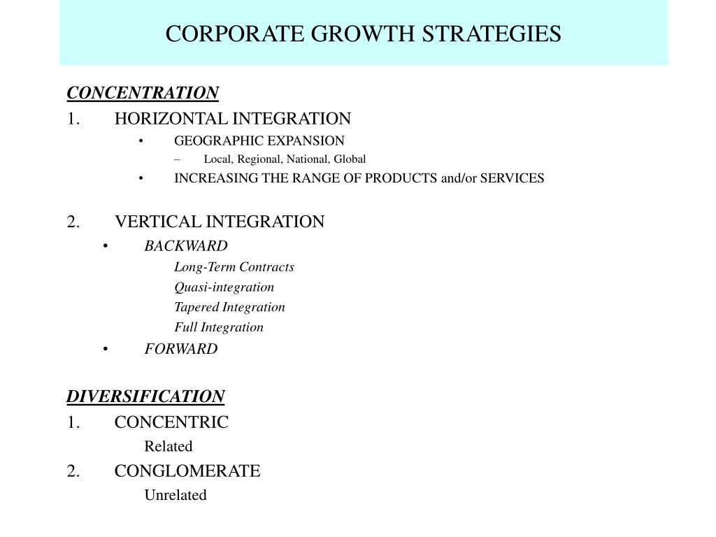 CORPORATE GROWTH STRATEGIES