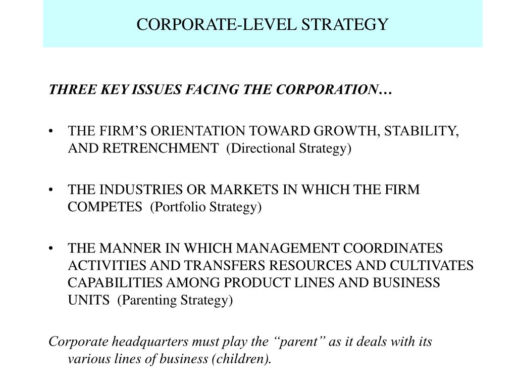 corporate level strategy l.