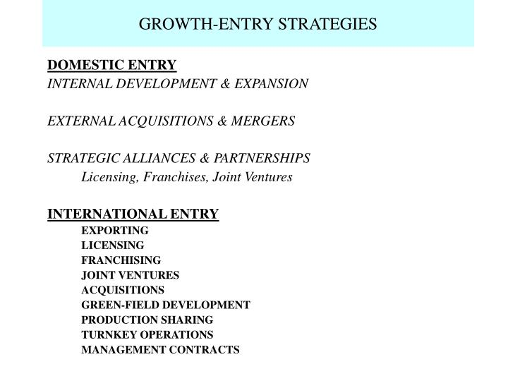 Growth entry strategies