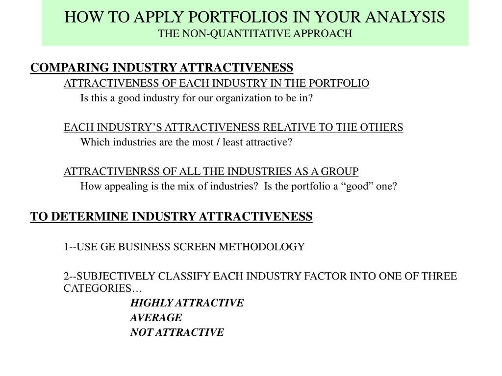 HOW TO APPLY PORTFOLIOS IN YOUR ANALYSIS