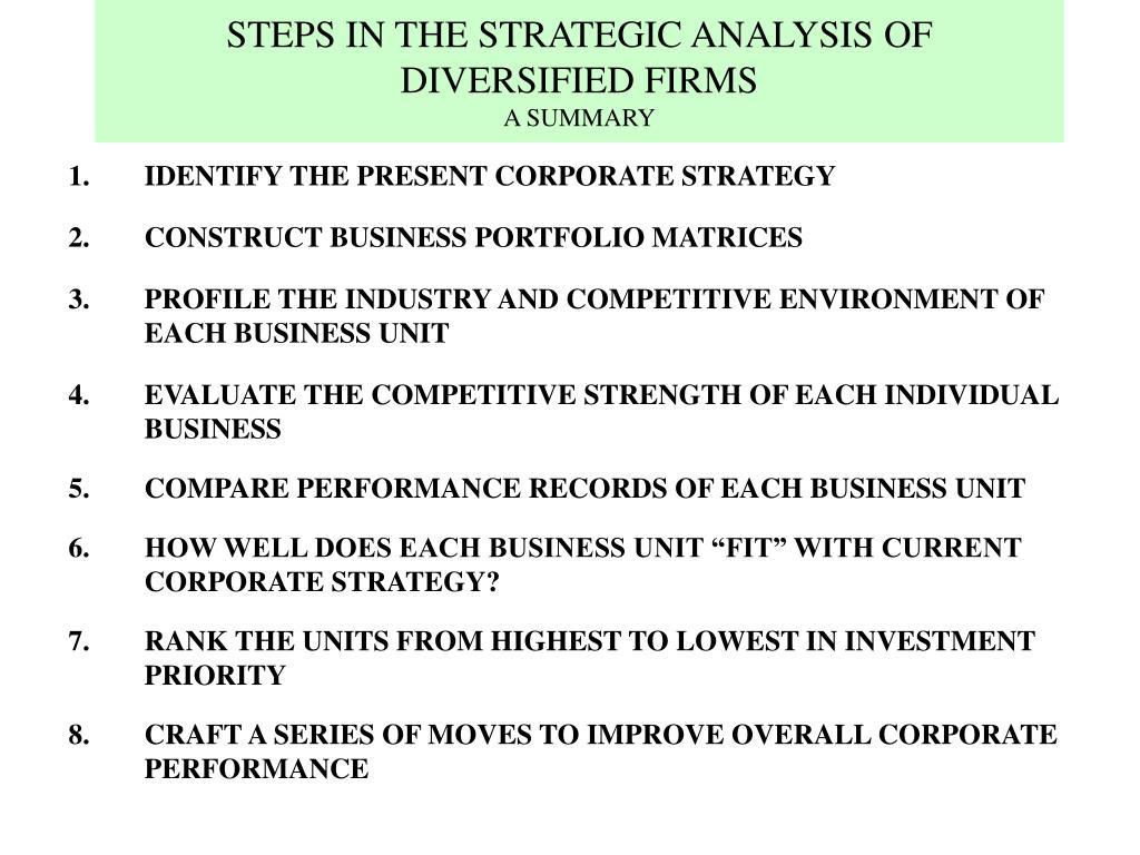 STEPS IN THE STRATEGIC ANALYSIS OF DIVERSIFIED FIRMS