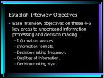 establish interview objectives