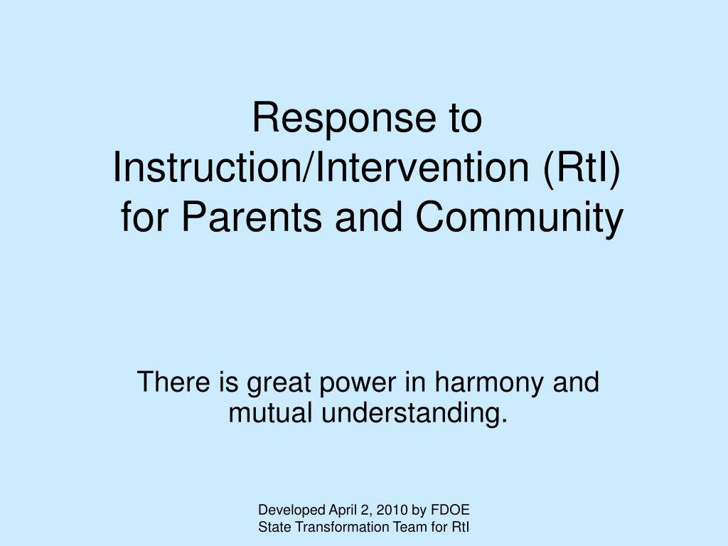 response to instruction intervention rti for parents and community l.