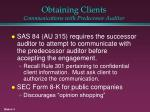 obtaining clients communications with predecessor auditor