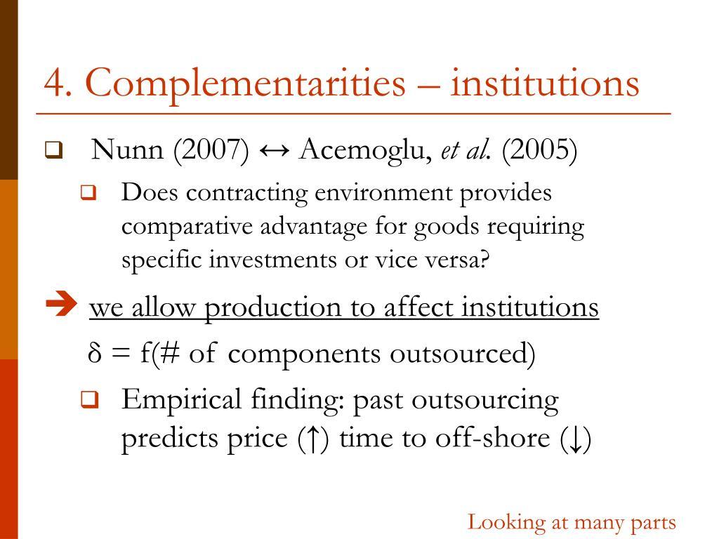 4. Complementarities – institutions