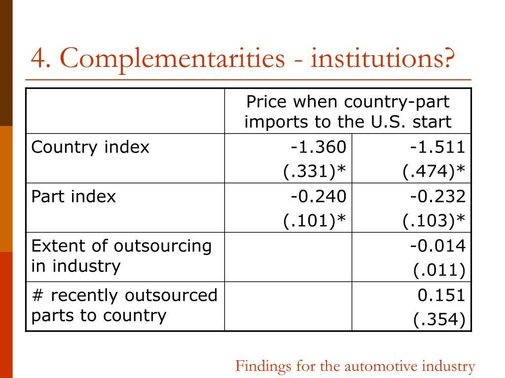 4. Complementarities - institutions?