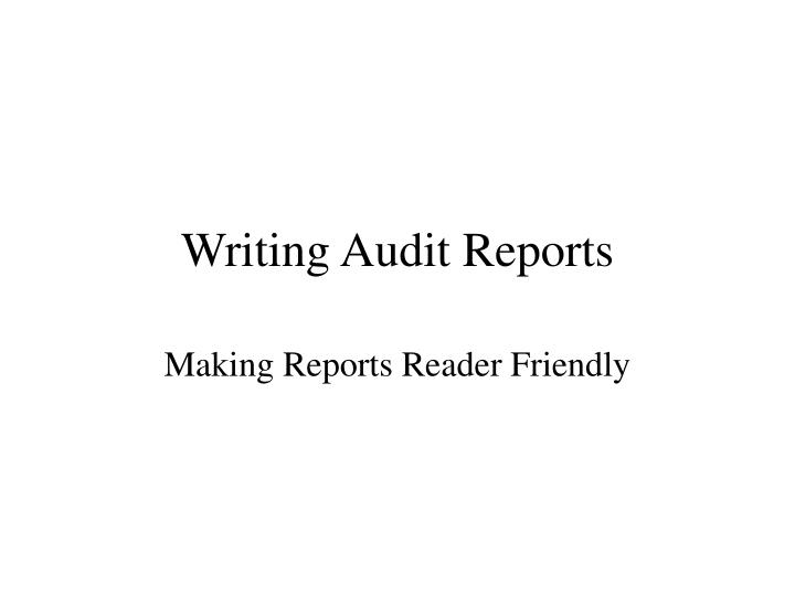 writing audit reports n.