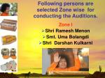 following persons are selected zone wise for conducting the auditions