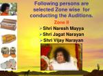 following persons are selected zone wise for conducting the auditions17