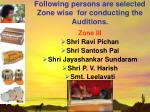 following persons are selected zone wise for conducting the auditions18