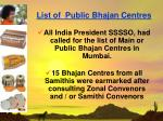 list of public bhajan centres