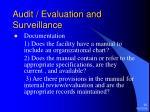audit evaluation and surveillance